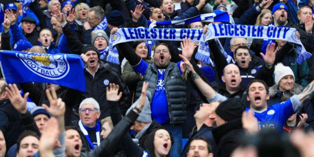 MANCHESTER, ENGLAND - FEBRUARY 06: Leicester fans celebrate during the Barclays Premier League match...