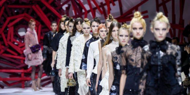PARIS, FRANCE - MARCH 08: Models walk the runway during the Shiatzy Chen show as part of the Paris Fashion...