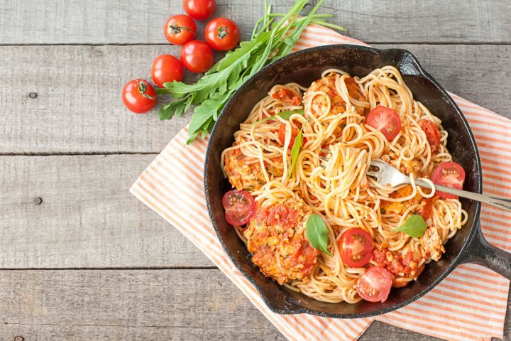 According to the food combining principles, spaghetti with meatballs is a no-no. Sigh.