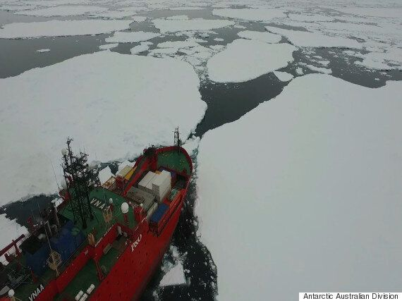 Drone Footage Of Australia's Antarctic Ship As It Navigates Sea