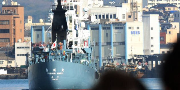 A Japanese whaling ship leaves the port of Shimonoseki in Yamaguchi prefecture, western Japan on December...