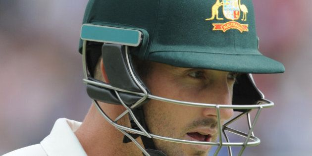 Australia's Shaun Marsh after being bowled by England's Stuart Broad caught Ian Bell for a duck during...