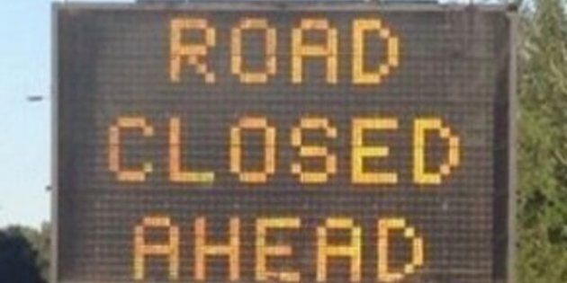 hacked highway sign