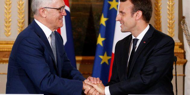 Emmanuel Macron and Malcolm Turnbull in Paris