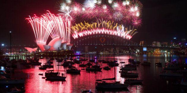 SYDNEY, AUSTRALIA - JANUARY 1: New Years Eve midnight fireworks over Sydney Harbour, January 1, 2015...