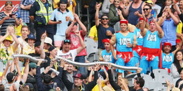 MELBOURNE, AUSTRALIA - DECEMBER 26:  Drinking cups are joined together by spectators during day one of the Second Test match between Australia and the West Indies at Melbourne Cricket Ground on December 26, 2015 in Melbourne, Australia.  (Photo by Michael Dodge/Getty Images)