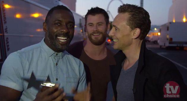 Elba, Hemsworth and Hiddleston... obviously having a terrible