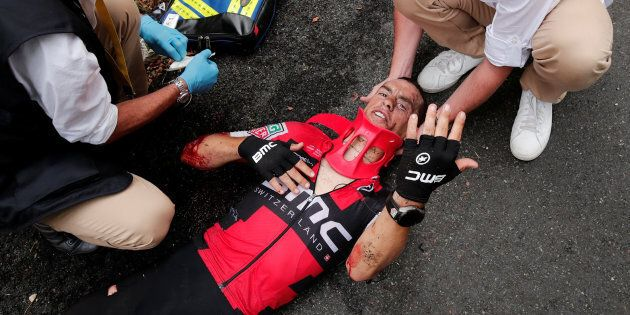 Porte came undone on a slippery twist in the treacherous Mont du Chat descent on day nine of the