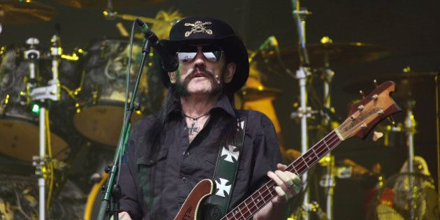 Motorhead frontman Lemmy Kilmister performs on the Pyramid stage during Glastonbury Music Festival on...