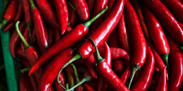Spicy red chili peppers for sale at the Central Market in Phnom Penh, Cambodia, Southeast