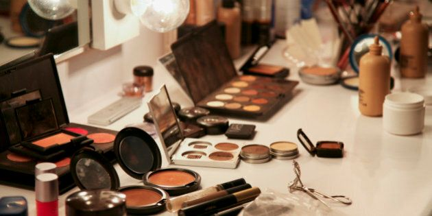 Selection of make-up on dressing table