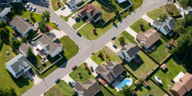 Aerial of Chesapeake, Virginia homes with pools and