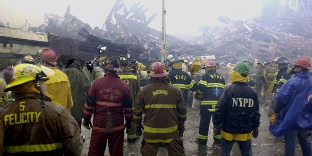 Rescuers at the base of the World Trade Center on September 14,