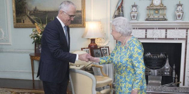 Queen Elizabeth II meets with the Prime Minister of Australia Malcolm Turnbull during an audience at...