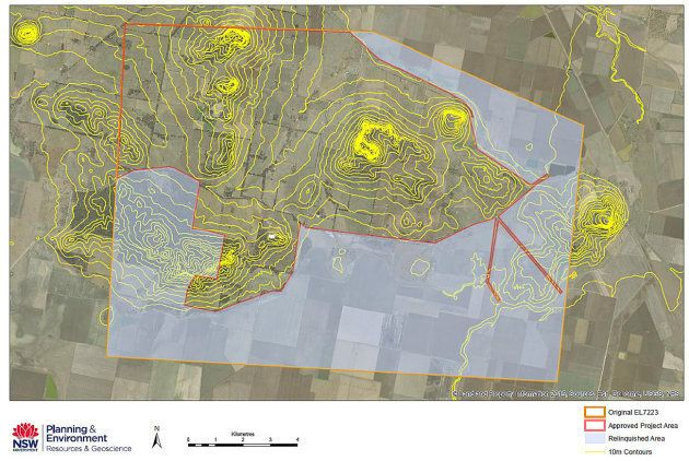 The relinquished area from a proposed coal mine in the Liverpool Plains area in northern NSW. The NSW...