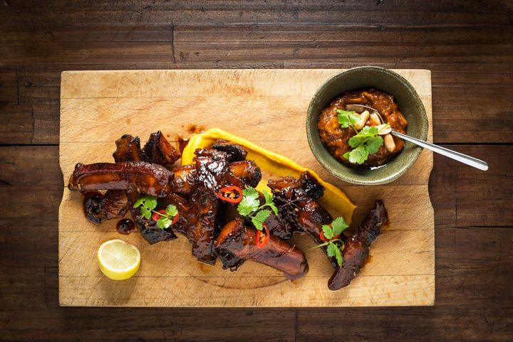 These ribs are delicious served with an Asian style coleslaw, sweet potato puree and a wedge of lime.