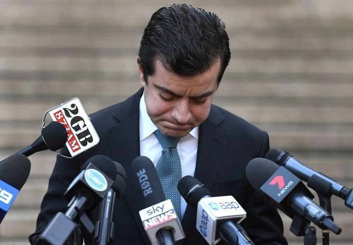 Sam Dastyari fronts the media on Tuesday to answer questions about the $1670 bill paid by a Chinese company
