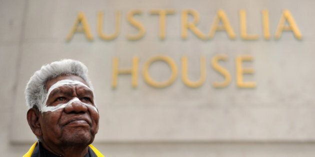 Djiniyini Gondarra, senior elder and Dhurili Clan leader of the traditional Yolngu peoples of Northeast Arnhem Land, poses for photographers after delivering a speech outside Australia House in London on May 13, 2011. In London on Friday, Gondarra announced the Global Call to Action for Aboriginal Rights, which is supported by former Australian prime minister Malcolm Fraser and other eminent Australians. On his way to the British capital, Gondarra met the UN High Commissioner for Human Rights Navi Pillay to discuss the ongoing Northern Territory Intervention, an indigenous policy by the Australian government which has been heavily criticised by United Nations. AFP PHOTO/BEN STANSALL (Photo credit should read BEN STANSALL/AFP/Getty Images)