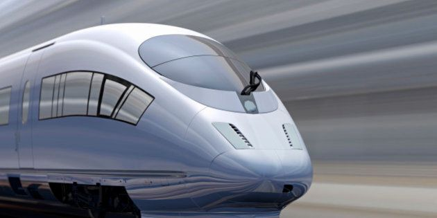 Blurred motion of high speed train, track and