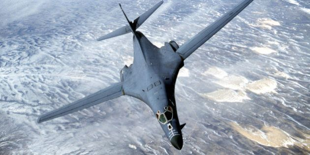WY - APRIL 1: This undated picture shows a B-1B Lancer bomber flying over Wyoming. The US Department...