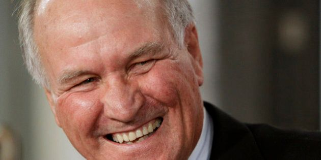 Independent member of parliament Tony Windsor laughs while at a National Press Club luncheon in Canberra,...
