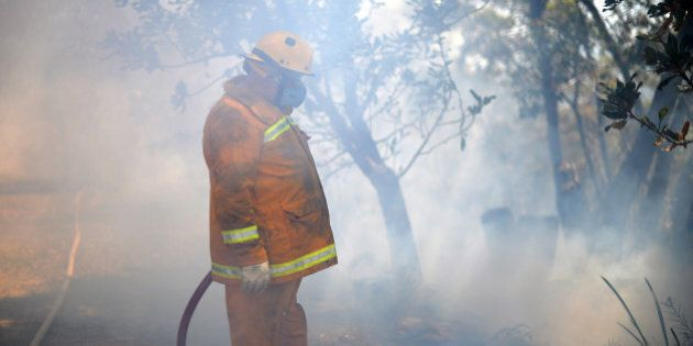 A firefighter is pictured working on a back burn operation to clear brush as bush fires approach near...