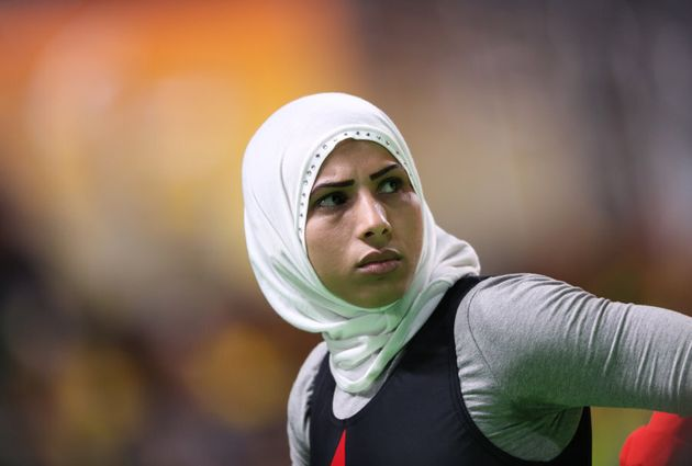 This is Nawal Ramadan of Egypt, a powerlifter competing at the Rio 2016