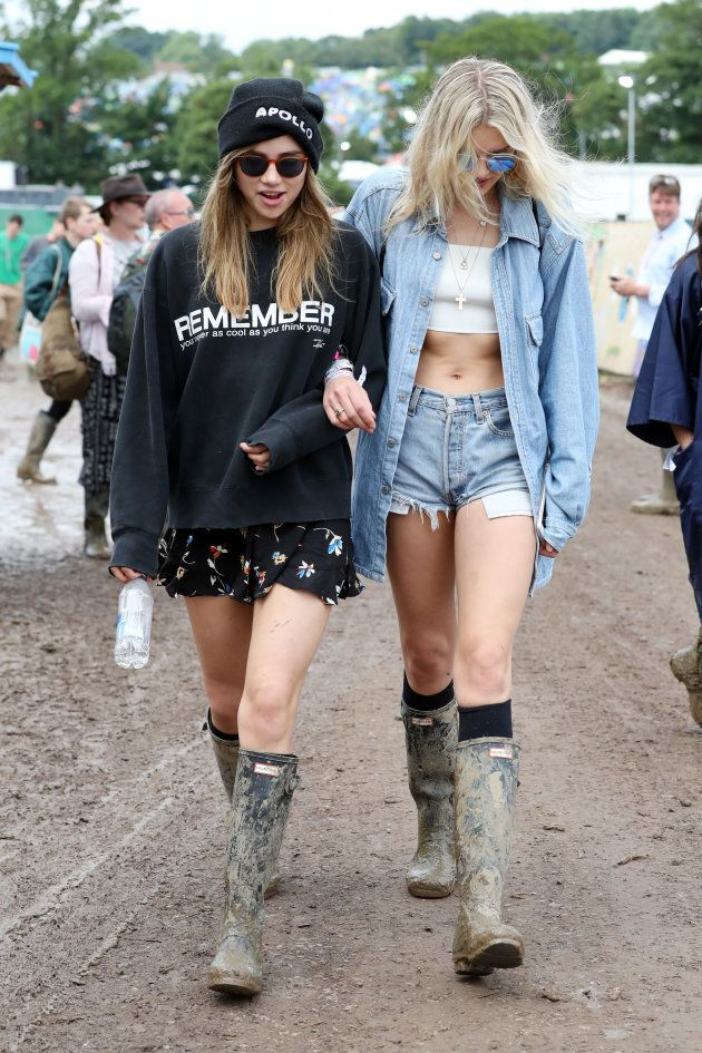 Suki Waterhouse and Lily Donaldson at Glastonbury 2017.