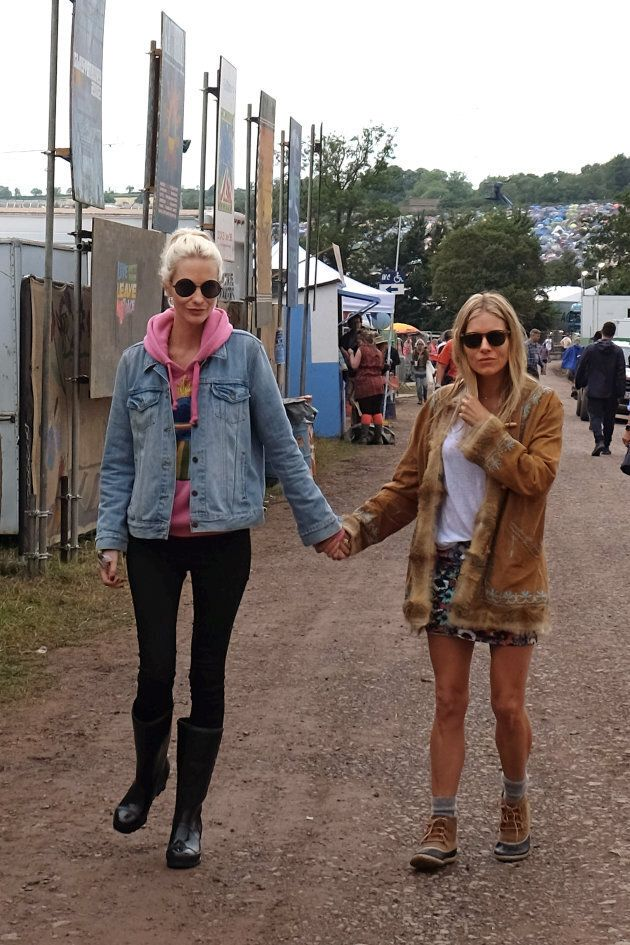 Poppy Delevigne and Sienna Miller at Glastonbury 2017.