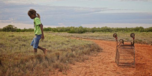 Aboriginal girl with supermarket