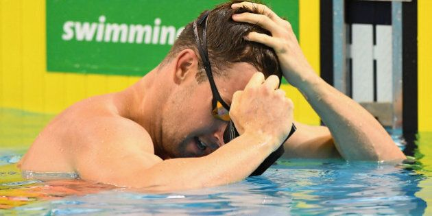 ADELAIDE, AUSTRALIA - APRIL 11: James Magnussen of Australia catches his breath after competing in the...