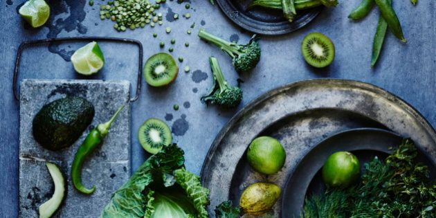 High angle view of green fruits and vegetables on