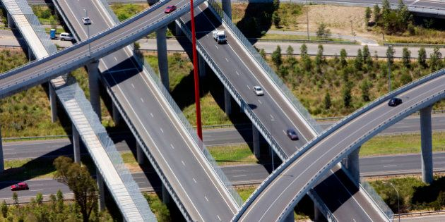 Aerial view of the Lighthorse Interchange, junction of the M7 and M4 motorways, Eastern Creek, Sydney, NSW, Australia.