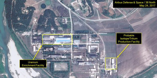 A satellite image of the Yongbyon nuclear plant in North Korea by 38 North released this