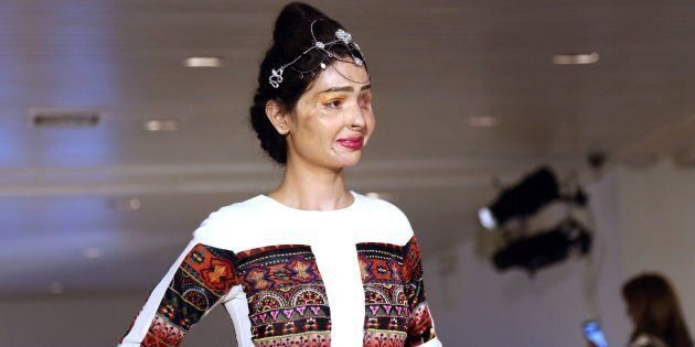 Acid attack survivor Reshma Bano of India walks the runway during the FTL Moda presentation at New York...