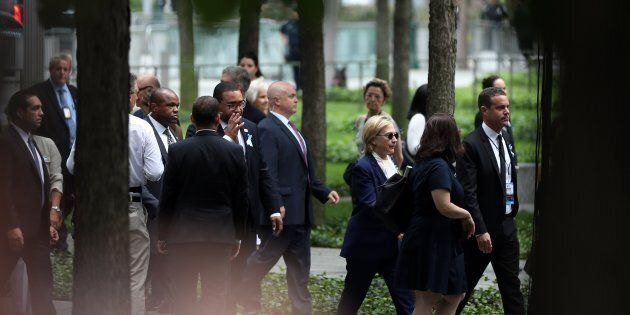 Republican presidential candidate Hillary Clinton arrives at the 15th anniversary of the 9/11 attacks...