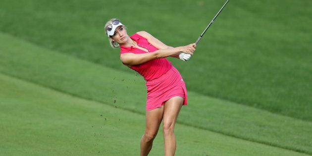 American golfer Paige Spirinac doesn't look too impressed at the fact she won't be able to wear this outfit anymore.
