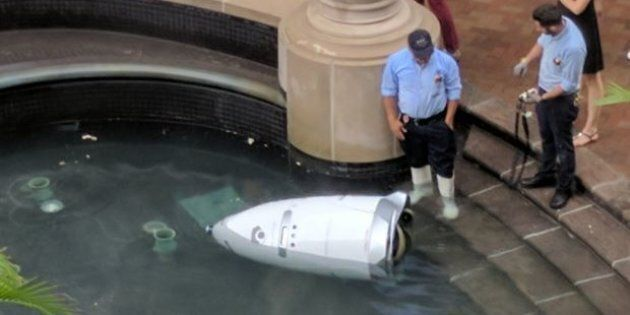 Robot Security Guard 'Drowns Itself' In Water