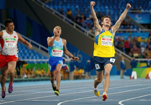 Ukraine's Ihor Tsvietov celebrates being awesomer than everyone else in the men's 100-meter T35 final...