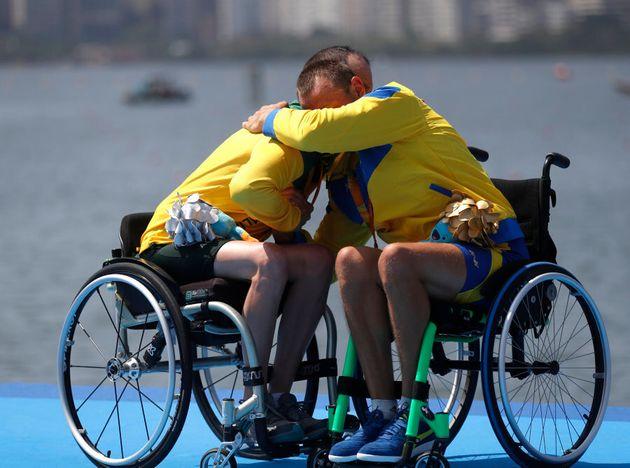 That would be gold medallist Roman Polianskyi (R) of Ukraine hugging silver medalist Erik Horrie of Australia...