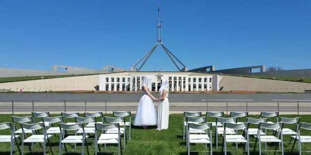 Two Women Had A Fake Wedding On The Parliament Lawn To Call For Marriage