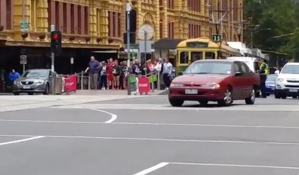 Screen grabs allegedly showing burnouts at Flinders Street,