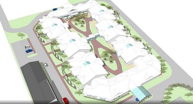 An artists picture of the proposed dementia village Korongee.