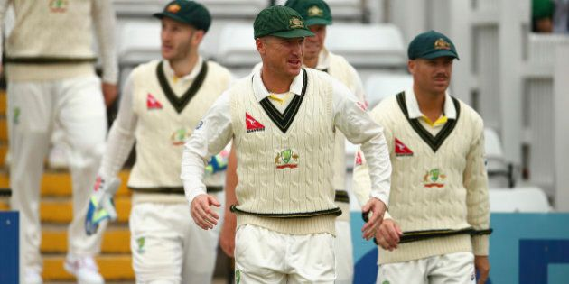 DERBY, ENGLAND - JULY 24:  Brad Haddin of Australia walks out to field during day two of the Tour Match between Derbyshire and Australia at The 3aaa County Ground on July 24, 2015 in Derby, England.  (Photo by Ryan Pierse/Getty Images)