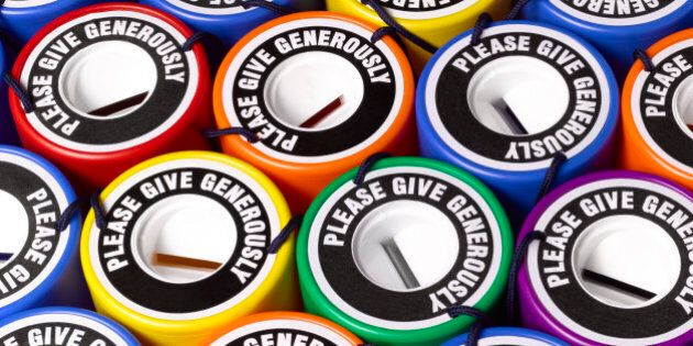 Collection of brightly coloured donation tins