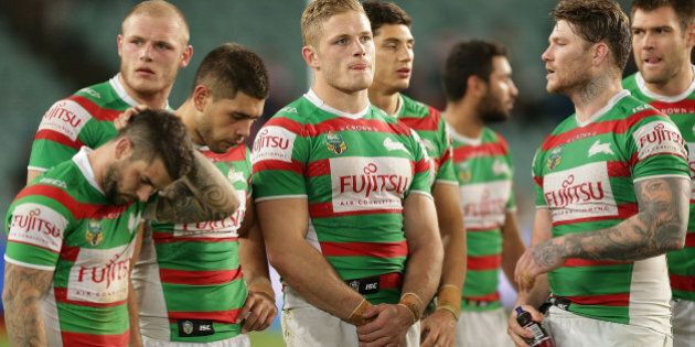 SYDNEY, AUSTRALIA - SEPTEMBER 04: Rabbitohs players look dejected after defeat in the round 26 NRL match...