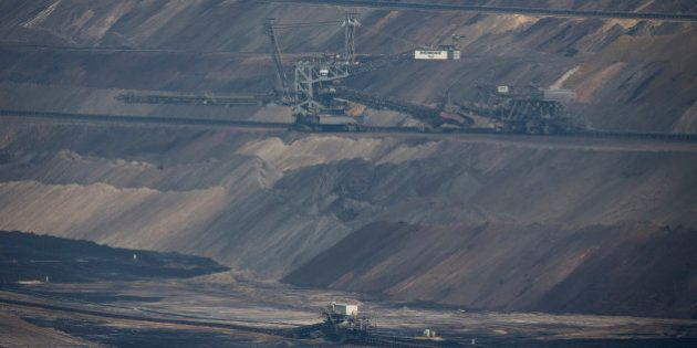 A giant excavator operates at an open pit lignite mine, also known as brown coal, operated by RWE AG...