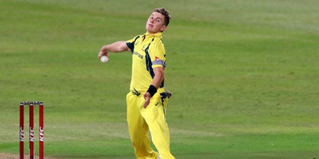 Australian bowler Adam Zampa delivers a ball during the first T20 cricket match against South Africa...