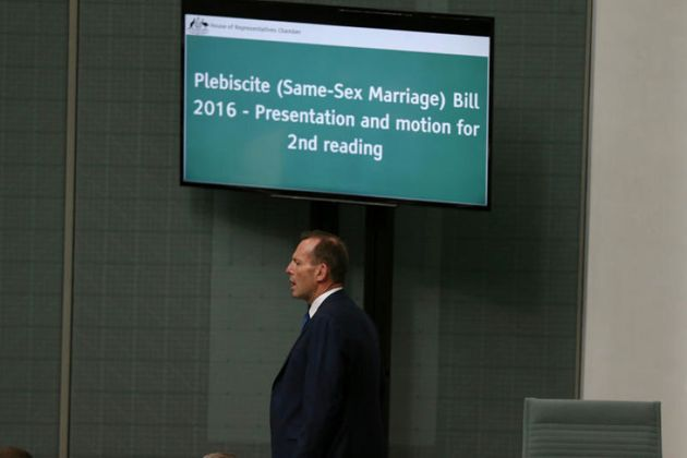 Former PM Tony Abbott in the House of Representatives during the introduction of the plebiscite
