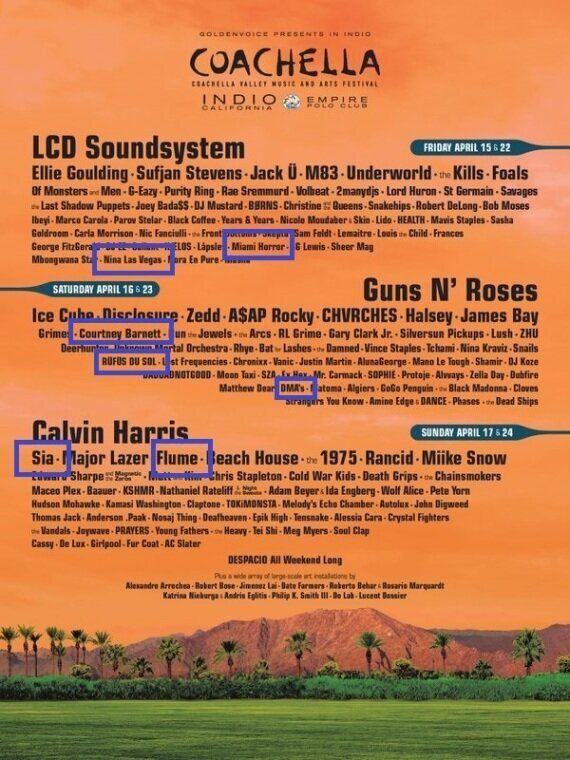 Seven Australian Acts Announced On Coachella Festival Lineup Alongside Guns N Roses, LCD